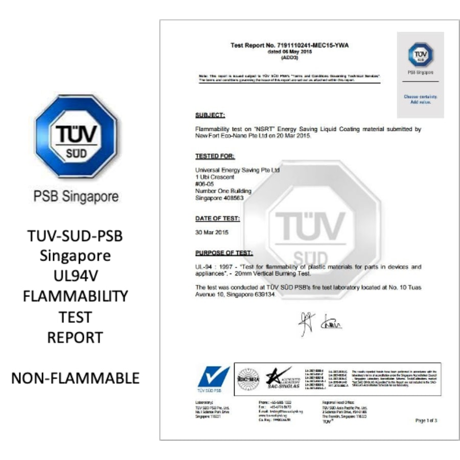 test report non-flammable